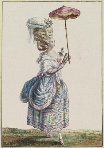 woman with tall hair, fan, and parasol