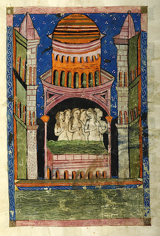 manuscript illustration of six women bathing together in a whimsical tower