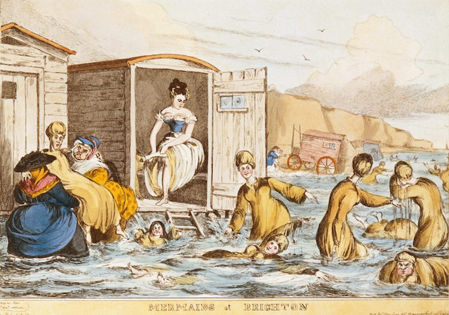 "bathers and woman emerging from bathing machine, labeled ""Mermaids at Brighton"""