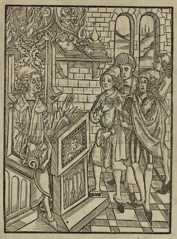 engraving of master in fancy chair gesturing at four standing students