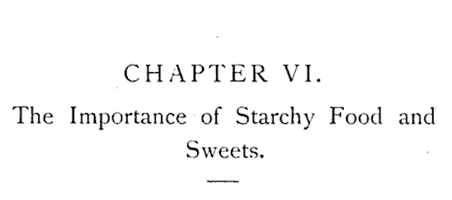 "chapter title image labeled ""The Importance of Starchy Food and Sweets"""