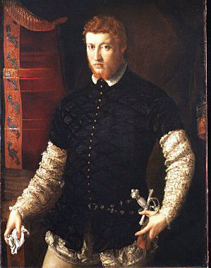painting of man looking concerned and holding handkerchief