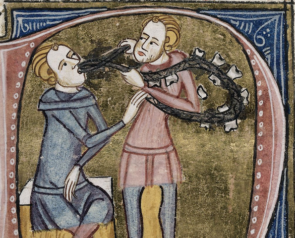 manuscript illustration of dentist extracting patient's teeth, which appear to be on a string