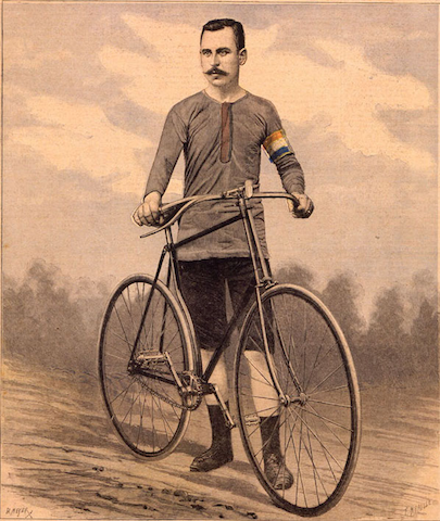 intense man with mustache standing at bicycle