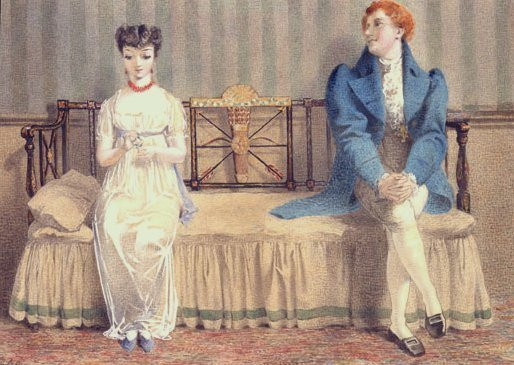 red-haired dandy and dark-haired lady on a couch