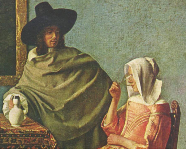 painting of man watching woman drink from wineglass
