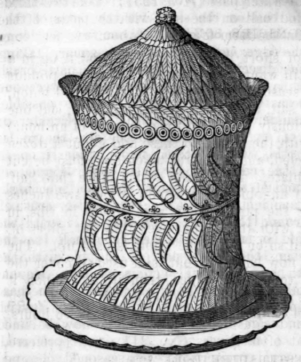 engraving of tall decorative pie
