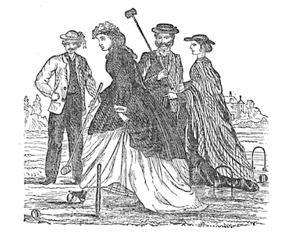 group of men and women on croquet lawn with mallets