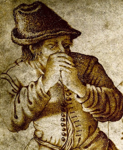 grim-looking figure with hands clasped over mouth