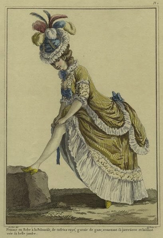engraving of woman in frilly clothes revealing her calf