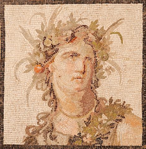 mosaic of head with garland