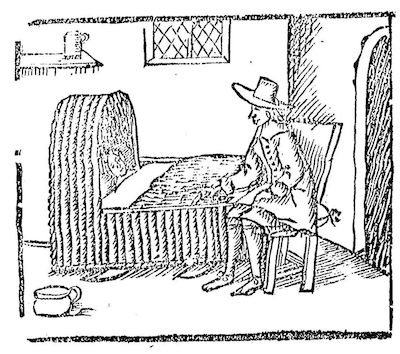 woodcut of man at person's bedside