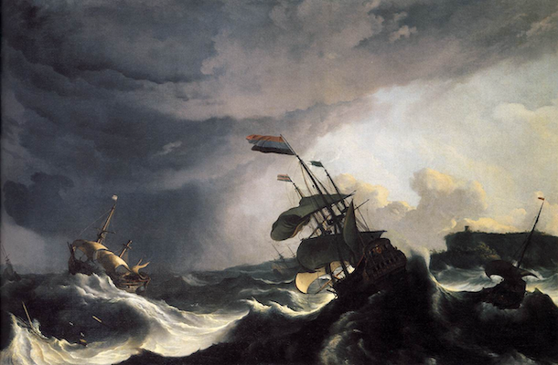 painting of masted ships lurching in waves