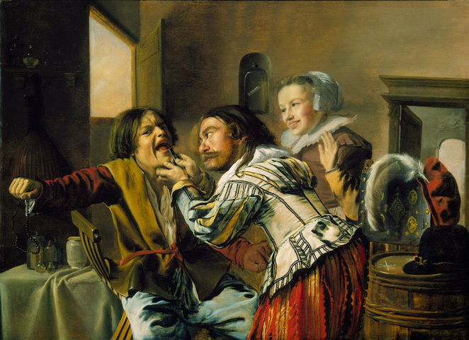painting of troubling dental procedure