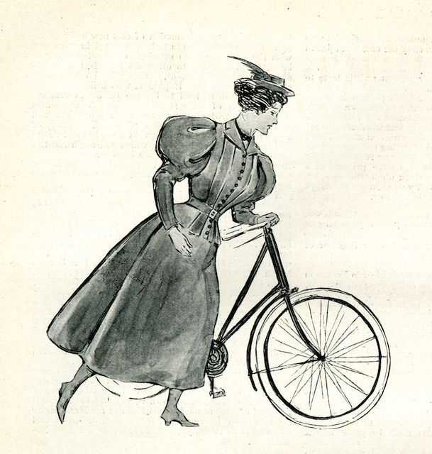 woman with bicycle wearing alpine hat