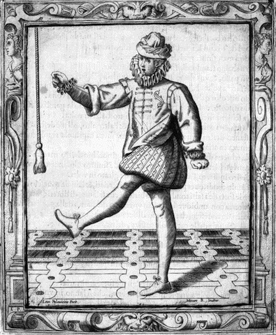 engraving of man dancing with leg aloft, reaching for rope hanging from above