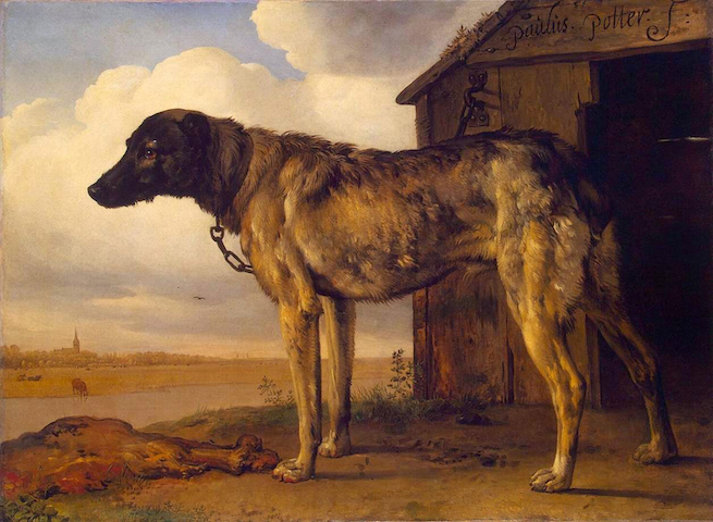 painting of wolfhound chained to doghouse