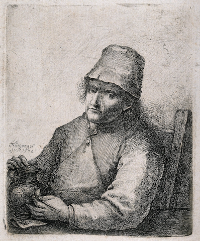 engraving of grim-looking man sitting with jug and pipe