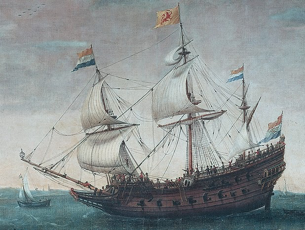 fancy ship painting, lots of sails
