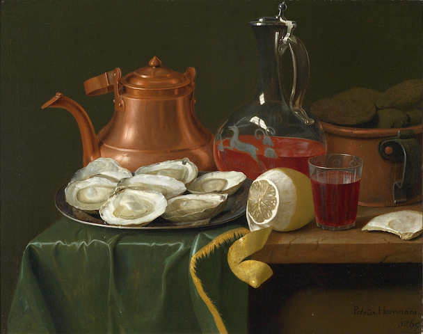 painting of table with oysters, lemon, wine