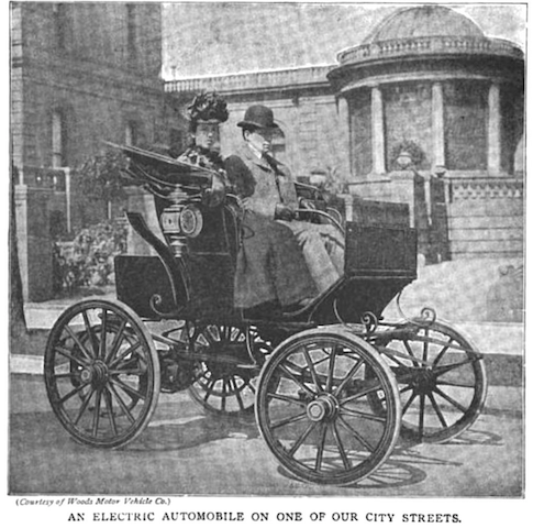 "19th-century illustration of ""an electric automobile on one of our city streets"""