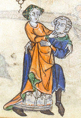 illustration of man and woman embracing vigorously in a margin