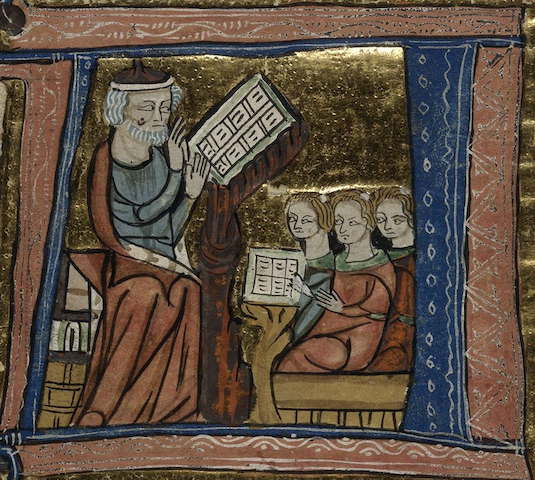 illumination of teacher and three scowling students