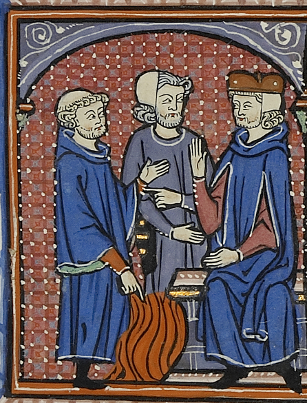 manuscript illustration of three men calmly discussing fire at their feet