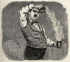 bartender with fancy mustache pouring flames from one mug to another