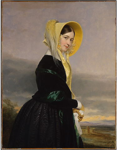 painting of woman gazing coyly and holding handkerchief