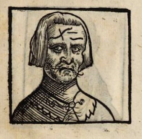 woodcut of creepy guy with strange forehead lines