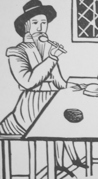 woodcut of man at table with spoon at lips