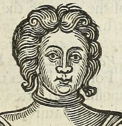 woodcut of woman's head with wavy hair