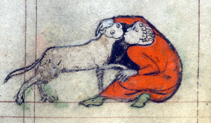 marginal illustration of guy kissing human-sized, googly-eyed cat creature