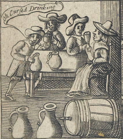 "engraving of small party, one drinker with speech bubble ""Oh Cursed Drinking"""