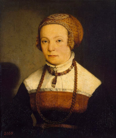 painting of woman with minimal eyebrows