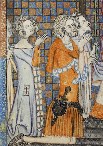 manuscript illustration of four stylish youths at prayer