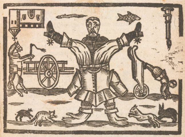 woodcut of man with gloves on feet and boots on hands, horse driving cart, fish flying, mice chasing cats