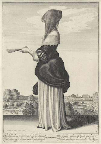 engraving of veiled woman with fan
