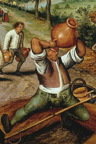 painting of peasant guzzling from jug