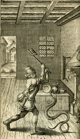 engraving of man preparing to bludgeon attacking snake in house