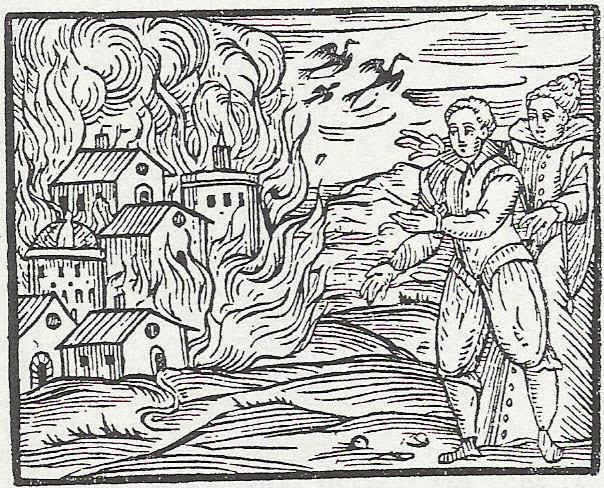 woodcut of two figures gesturing at town on fire