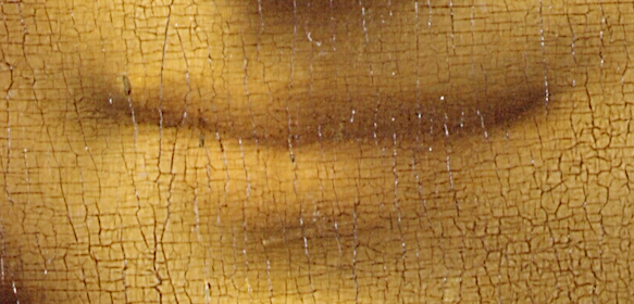 detail of Mona Lisa's lips looking cracked