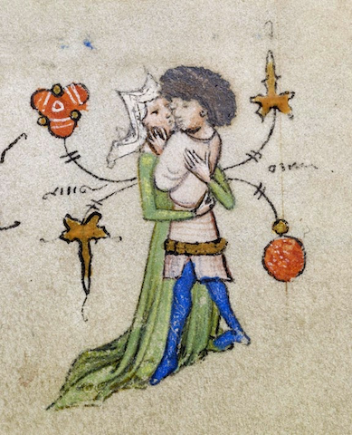 illumination of stylish man and woman embracing in margin