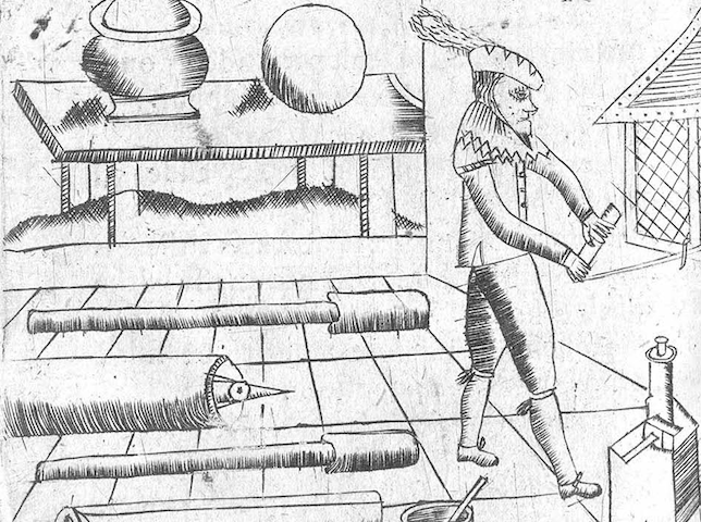 amateurish engraving of man with fireworks equipment