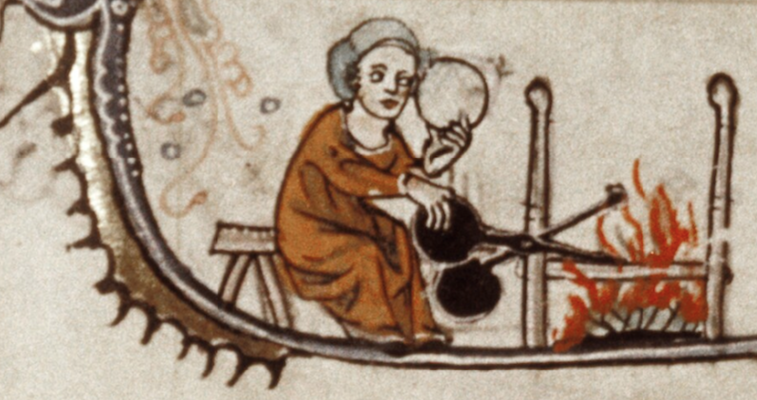 manuscript illustration of woman cooking waffles over open fire