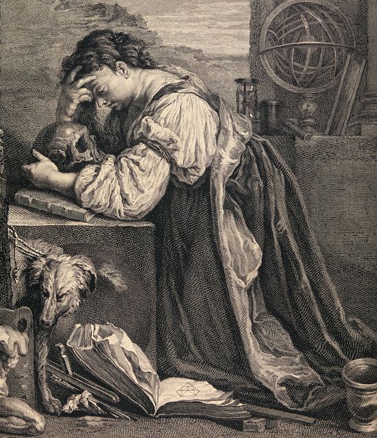 emo engraving of a woman at a desk embracing a skull