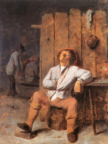 painting of man seated, napping