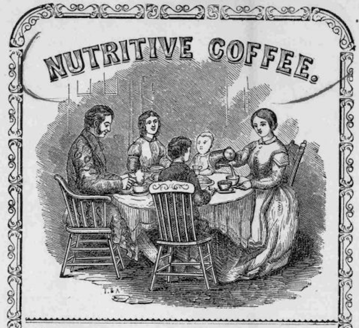 family at table, mother pours coffee