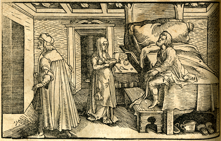 engraving of patient sitting on bed with attendants